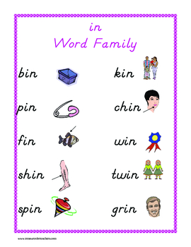 """in"" word family set"
