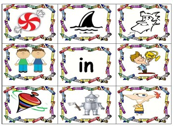 in-word family-pocket chart-word -picture match
