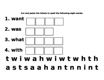 Kindergarten Sight Word Fun What Was Want What
