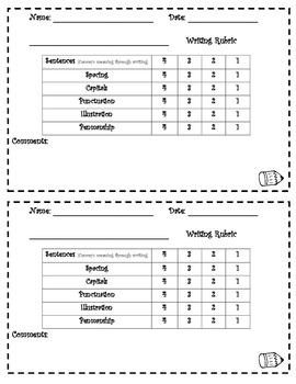 individual writing rubrics