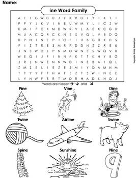 ine Word Family Word Search/ Coloring Sheet (Phonics Worksheet)