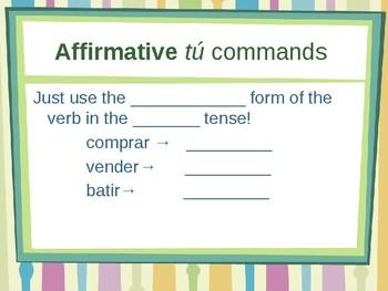 informal tu commands Spanish CLOZE GAP NOTES