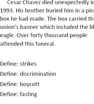 informational text - Cesar Chavez