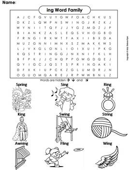 ing Word Family Word Search/ Coloring Sheet (Phonics Worksheet)