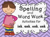 ink, ank, onk, unk Word Work Activities