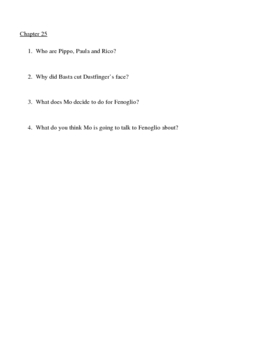 inkheart (Chapters 21-25) Comprehension Questions