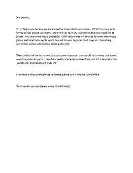instrument donation letter