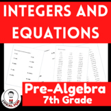 INTEGERS AND EQUATIONS|SOLVING EQUATIONS WITH INTEGERS|BUNDLE|MATH CENTERS|FUN