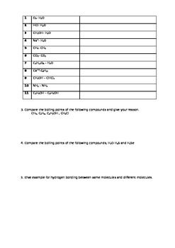 interactions about chemical species-worksheet