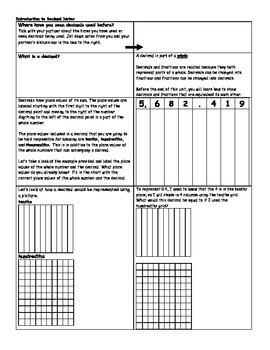 interactive decimal notes and independent practice