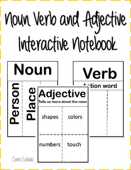 interactive notebook: nouns, verbs, adjectives