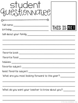 student questionnaire . back to school