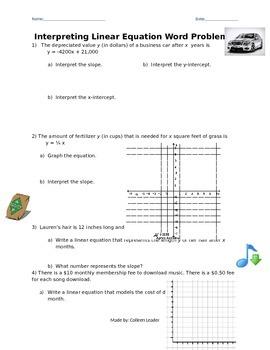 interpreting Linear Equation Word Problems