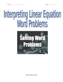interpreting Linear Equation Word Problems