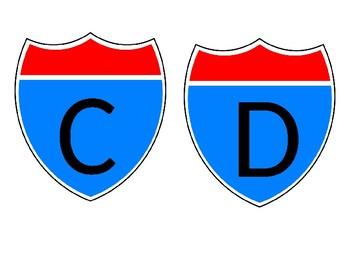 interstate/highway word wall alphabet