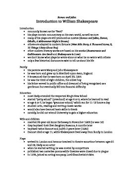 introduction to Shakespeare
