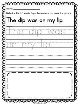 'ip' Word Family Word Work