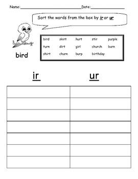 ir and ur word sort worksheet