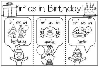 'ir' as in Birthday - Spelling Activity Packet