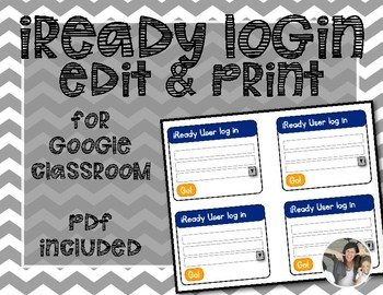 iReady Login Cards {Google Classroom Editable}