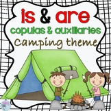 Copula and auxiliary is and are camping theme for speech therapy