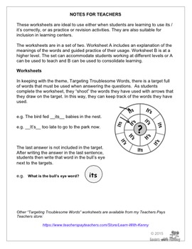 its/it's - Targeting Troublesome Words Worksheets UK English