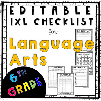 ixl Checklist Language Arts 6th Grade