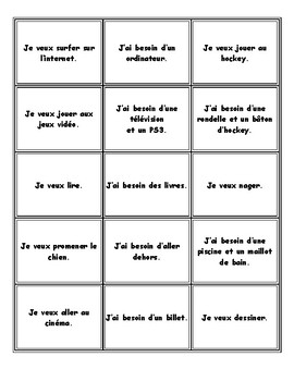 lecture: je veux...j'ai besoin de...French matching cards (loisirs)