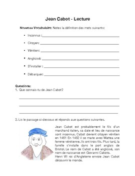 Canadian social studies in French: Jean Cabot lecon thematique debutant