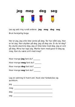 jeg meg deg seg Høyfrekvente lurord på norsk