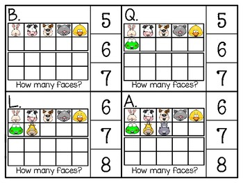 just add clips: clip cards_1 to 20_animal face ten frames