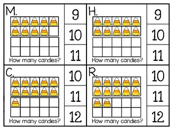 just add clips: clip cards_1 to 20_candy corn ten frames