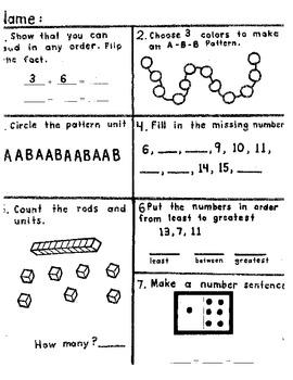 k-1 math morning work