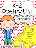 k-2 Poetry Unit (Write Poems for Moms and Dads)