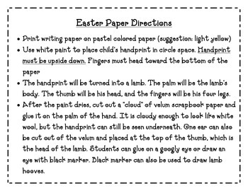 k-2nd Easter Writing Paper with Hand Print