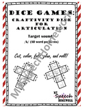 /k/ Articulation Dice Craft - initial, medial, & final