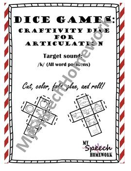 /k/ Articulation Dice Craft - initial, medial, & final