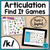Articulation Activity: /k/ Find It Speech Therapy Games