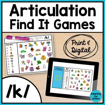 Articulation Game: /k/ I Spy adapted with 3 levels (Speech