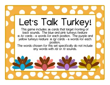 Turkey Talk /k & g/ cards: Speech Intervention, Phonological Processes, Fronting
