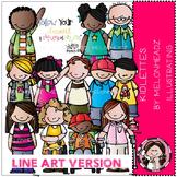Kidlettes 1 clip art - LINE ART - Melonheadz clipart