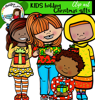 kids holding Christmas gifts