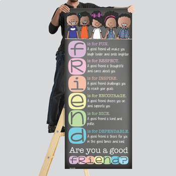 pastel CHALK {melonheadz} - Classroom Decor, LARGE BANNER, FRIEND, kids of color