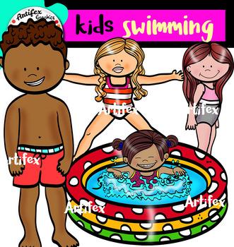 kids swimming clip art