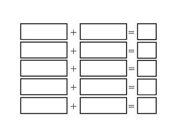 kindergarten Adding and Subtracting Math Templates