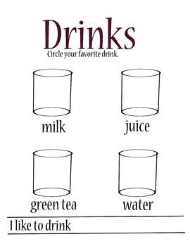 kindergarten ESL favorite drinks activity page