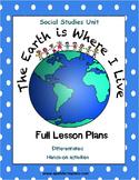 Where I Live Social Studies Unit with Lesson Plans - K, 1st & 2nd Grades