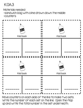 kindergarten Interactive Math Journal {K.OA.3}