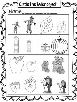 kindergarten Measurement and Data Center- Fall Theme