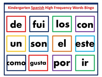 kindergarten Spanish Frequency Word Bingo